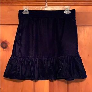 J. Crew Blue Velvet Mini Skirt Never Worn